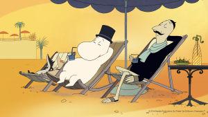 Muminpappan och Sniff solbadar under parasoll