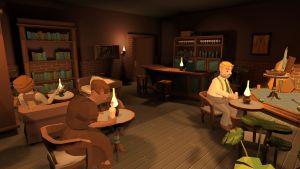 Screenshot Salakapakka-pelistä. Salakapakan asiakashahmot istuvat sohvilla ja pöytien äärellä hämyisessä kellaritilassa.