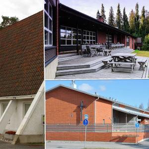 Fotocollage med Draksnäsbäcks kyrka, Lepikko lägerområde och Skogsbergets församlingshem
