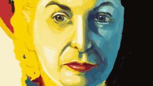Elokuvakriitikko Pauline Kaelin muotokuva. Dokumenttielokuvan What She Said: The Art of Pauline Kael julistekuva.