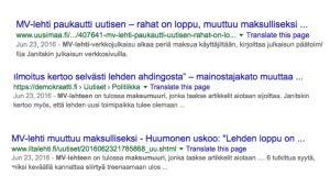 Google-hakutuloksia MV-lehti uutisoinnista.