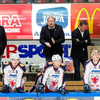Pasi Räsänen och Jarmo Myllys bakom bänken för SapKo.