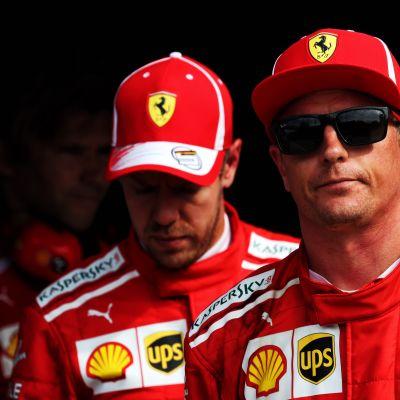 Kimi Räikkönen ja Sebastian Vettel.