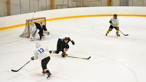 Flera ishockeyspelare på isen.