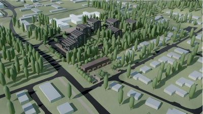 En illustrationsbild som visar hur det i framtiden kunde se ut i nuvarande vårdcentralens kvarter i Sjundeå.