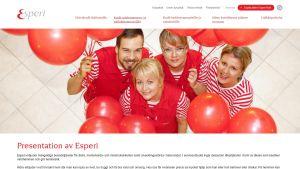 Skärmdump från Esperis hemsida.