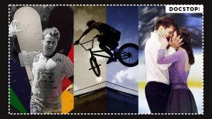 Kuvat dokumenteista vasemmalta oikealle: Kunniakierros, jonka kuvassa näkyy Hannu Manninen, BMX - Do or die -dokumentti, jonka kuvassa näkyy BMX-pyöräilijä sekä Jään vetovoima -dokumentti, jonka kuvassa on jäätanssipari Olesia Karmi sekä Max Lindholm.