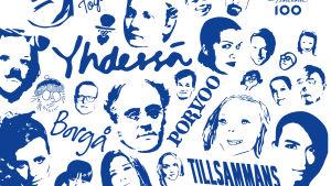 Blå ansikten mot vit bakgrund, mall för hur ansiktsflaggorna i Borgå ska se ut.