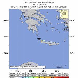 Karta som visar platsen för jordskalv utanför Kreta