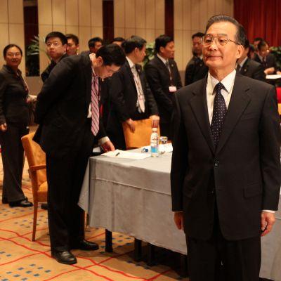 Kinas premiärminister Wen Jiabao vid FN:s klimatmöte i Köpenhamn den 17 december 2009.