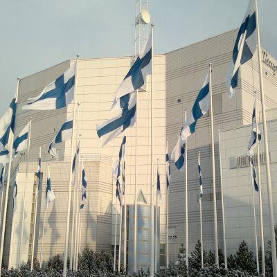 Kymmenet Suomen liput liehuvat Tampere-talon edustalla.