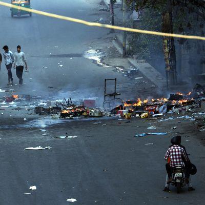 Våldsamheter på gatorna i Delhi, Indien