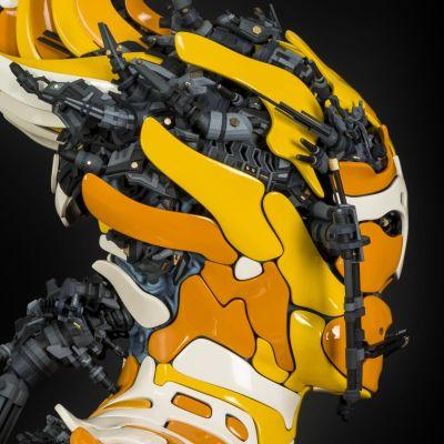 Sivukuva taitelijan 3d-tekniikalla tekemästä kyborgista