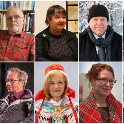 Marjaana Aikio, Heikki J. Hyvärinen, Irja Jefremoff, Juha Joona, Petteri Länsman, Yrjö Musta, Aslak A. Pieski, Irja Seurujärvi-Kari, Miina Seurujärvi ja Nils-Henrik Valkeapää.