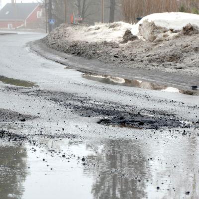 Tjälskador i en asfaltväg.
