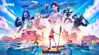 Karaktärer ur spelet Fortnite i ett havslandskap.