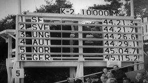 Resultat 10 000 meter paddling K-2 i OS 1952: Kurt Wires och Yrjö Hietanen vinnare.