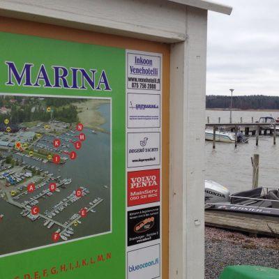 Karta över Ingå Marina.