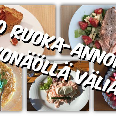 Kuvassa eri ruokalajeja