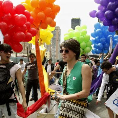 Pridedemonstration i Colombias huvudstad Bogotá den 26 juni 2011.