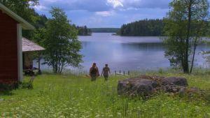 Två personer på en äng i Linnansaari nationalpark. En sjö syns i bakgrunden.