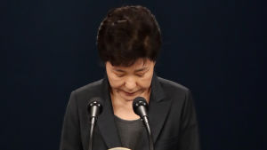 Park Geun-Hye ber om ursäkt och bugar.