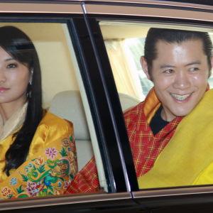 Drottning Jetsun Pema  och kung Jigme Khesar Namgyal Wangchuck