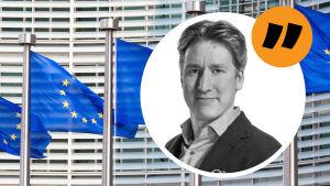 Kolumnisten Rikhard Husu mot bakgrund av EU-motiv.