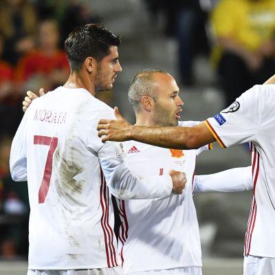 Spanien firar mål mot Liechtenstein i VM-kvalet.