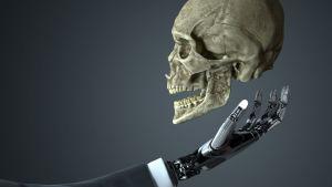 Konstnärens vision av en robothand som håller en mänsklig skalle.