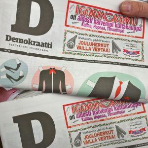 Tidningen Demokraatti den 8 december 2016, fotograferad hos Posten.