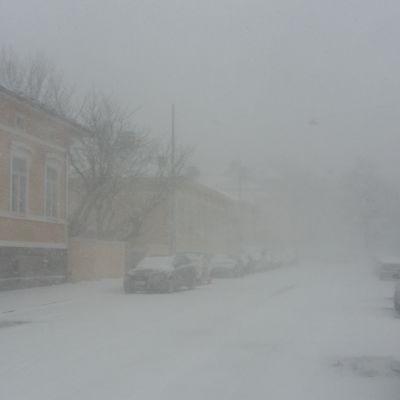 Snöstorm i Åbostadsdelen Port Arthur, så att man inte ens ser till nästa kvarter.