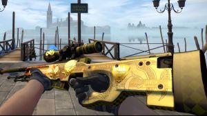 Ett animerat snipervapen i guld från datorspelet Counter-Strike.