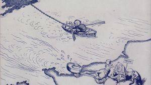 piirros, jossa mies yrittää soutaa venettä rantaan