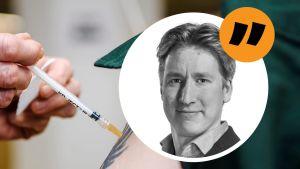 Kommentarsbild med Rikhard Husu och en vaccinbild.