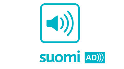 A turquoise symbol of an audio speaker with sound waves going to the right. Underneath the text Suomi and on a turquoise background the text AD and three waves.