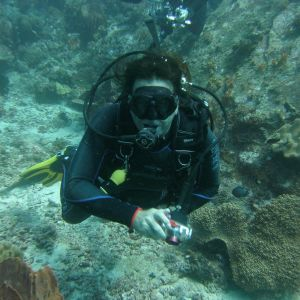 Muusikko Mikko Kuustonen veden alla kuvaamassa sukellusasussa