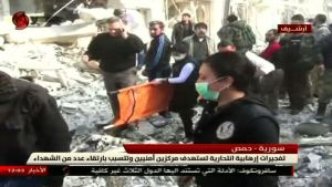 Skärmdump från tv-kanalen Al-Ikhbariya Al-Souriya 25.2.2017