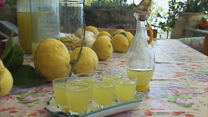 Terassin pöydällä kotitekoista limoncelloa lasipurkissa ja karahvissa sekä kaadettuna pieniin laseihin.