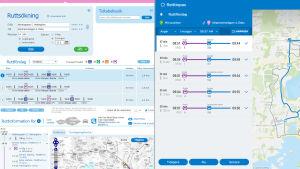 gamla versionen och betaversion av nya reseplaneraren sida vid sida, screen shot