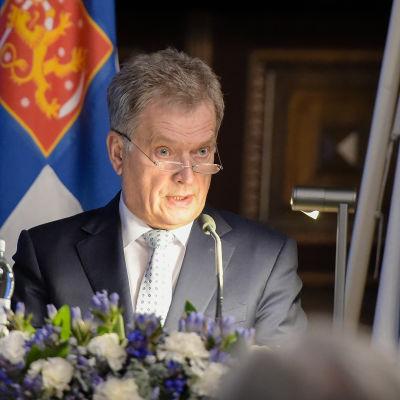 President Sauli Niinistö i Helsingfors den 7 november 2016.