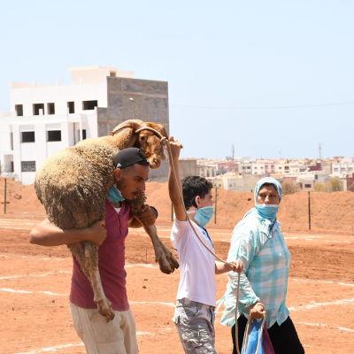 Mies kantaa lammasta hartioillaan. Vierellä poika ja nainen.