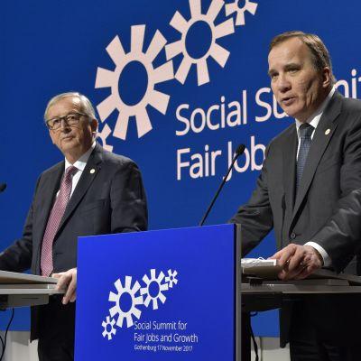 Komission puheenjohtaja Jean-Claude Juncker ja Ruotsin pääministeri Stefan Löfven Göteborgissa.