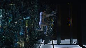 Major (Scarlett Johansson) kommer inhoppande genom ett fönster och glassplittret yr.