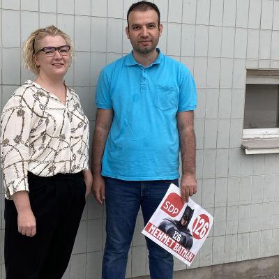 Kuvassa Eeva Välikangas ja Mehmet Batman