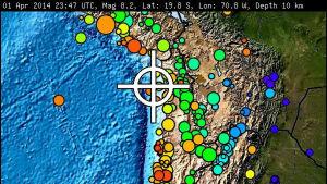 Maanjäristyksen keskus Chilen rannikolla huhtikuussa 2014.