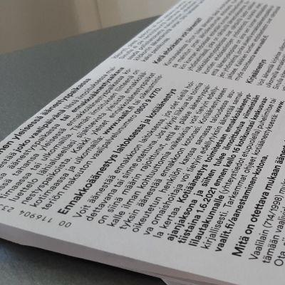 Kirje, jossa kerrotaan äänioikeudesta ja kotiäänestyksestä