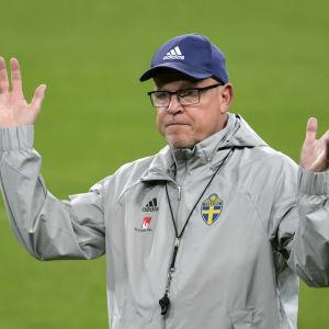 Janne Andersson under ett träningspass i oktober.