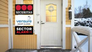 Ulko-ovi ja sen vieressä logot Verisure, Securitas ja Sector Alarm