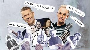 """Sören Lillkung och Christoffer Strandberg har pratbubblor som säger """"när blev jag konstnär?"""" och """"jag är konstnär"""". Under dem mindre bilder av olika kändisar."""